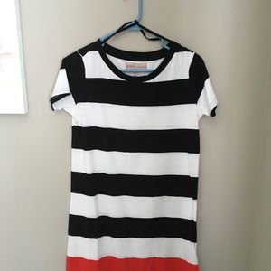 Philosophy T-shirt dress, black and white.